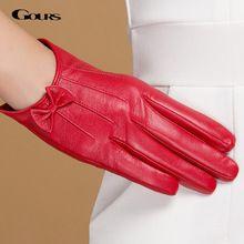 Gours Зимние Оригинальные Кожаные Перчатки Женщин Короткий Красный Черный Зеленый Дамы Перчатки Новый Бренд Бантом Козьей Варежки Guantes GSL047(China (Mainland))