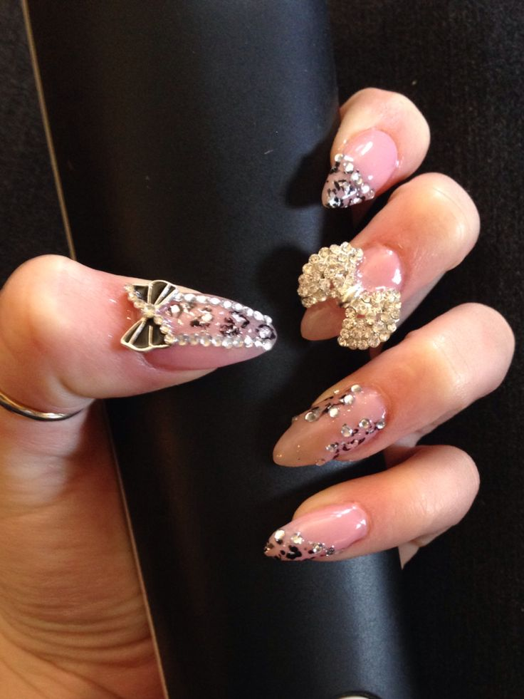Pink 3d leopard long pointy nail art nails crystal gem ...