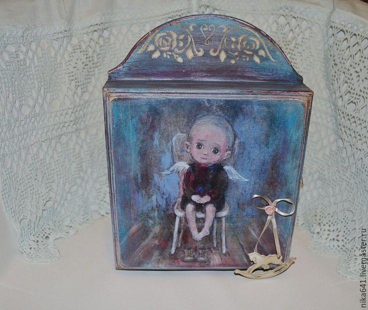 """Купить Ключница """"Ангел"""" - состаренный стиль, сосна, голубой, сосновая, дерево, деревянные заготовки, ключница"""