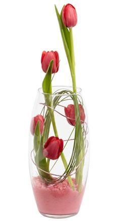 Red Tulip In Glass Foam Powder