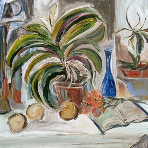 """Interior with Orchids"" - Original Fine Art for Sale - © Kristin Gibson www.FineArtandFabric.com"