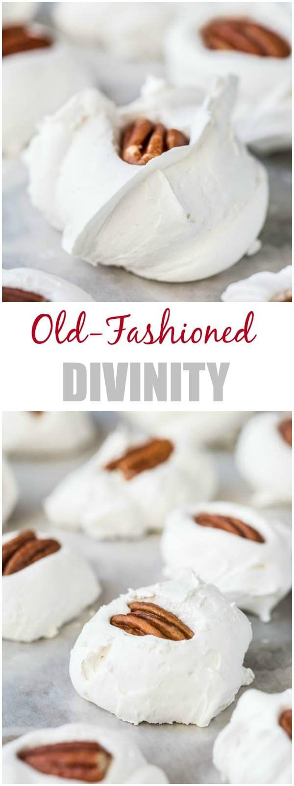 Nothing brings holiday cheer quite like Old-Fashioned Divinity. Soft and fluffy, sweet and creamy, the name says it all. It's divine! #divinity #divinityrecipe #christmastreats