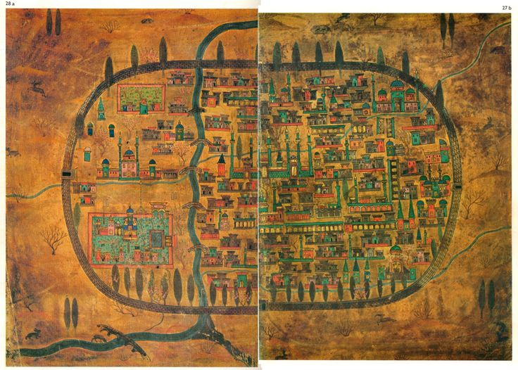 16th century map of Tabriz, Iran. * Matrakçı Nasuh's separate drawings of east and west Tabriz were put together