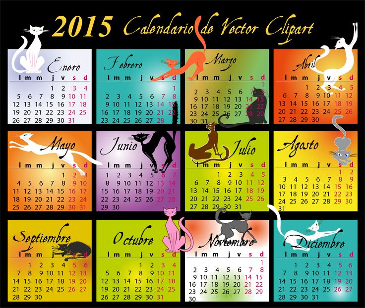 Calendario 2015 de gatos, vectorial y editable, en español (castellano), para Illustrator,      Corel, Inkscape, Photoshop por capas. Descarga gratis.