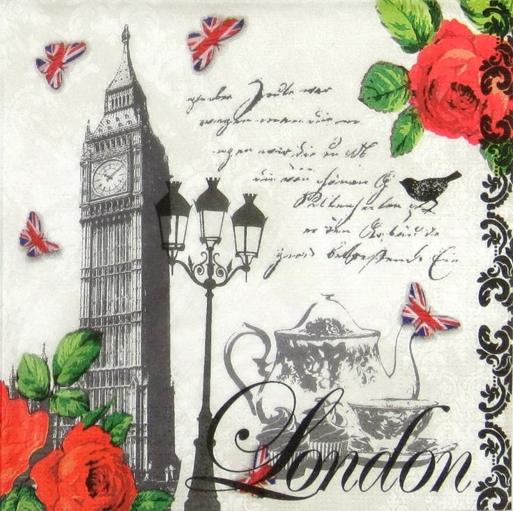 4 xSingle Luxury Paper Napkins for Decoupage and Craft Vintage Teatime in London