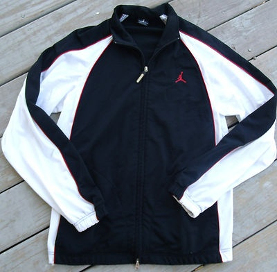 e02e1ce63555 Mens Black White Red Nike Air Jordan Zip up Track Jacket size Medium Large