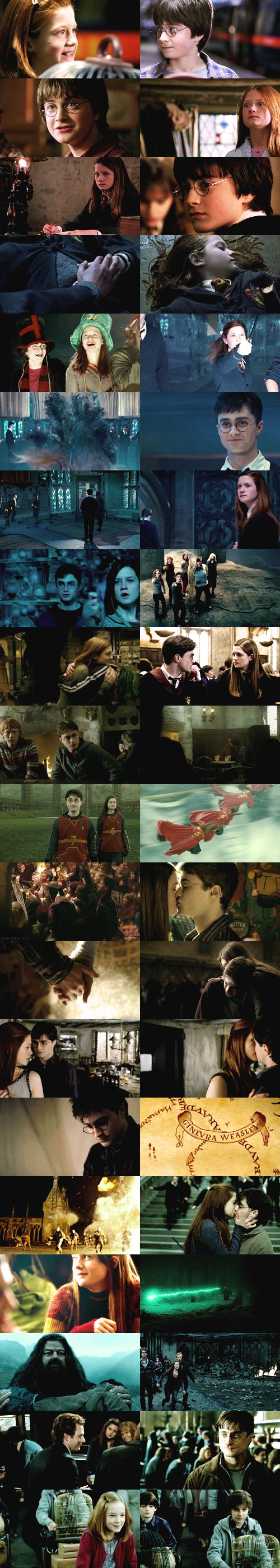 GINNY AND HARRY oh MY gosh but her face whenever she saw him in the first like 4 movies is priceless! <3