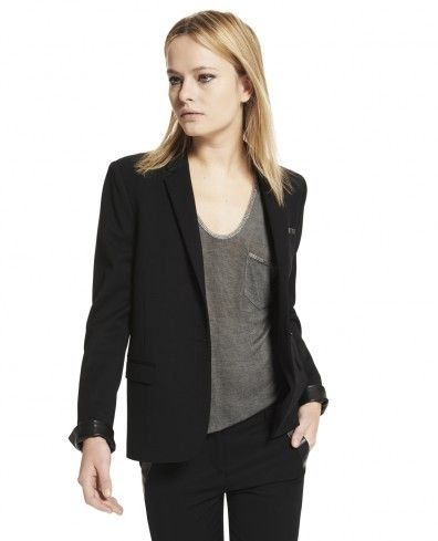 Stretch jacket with leather details - Woman - New Collection - The Kooples