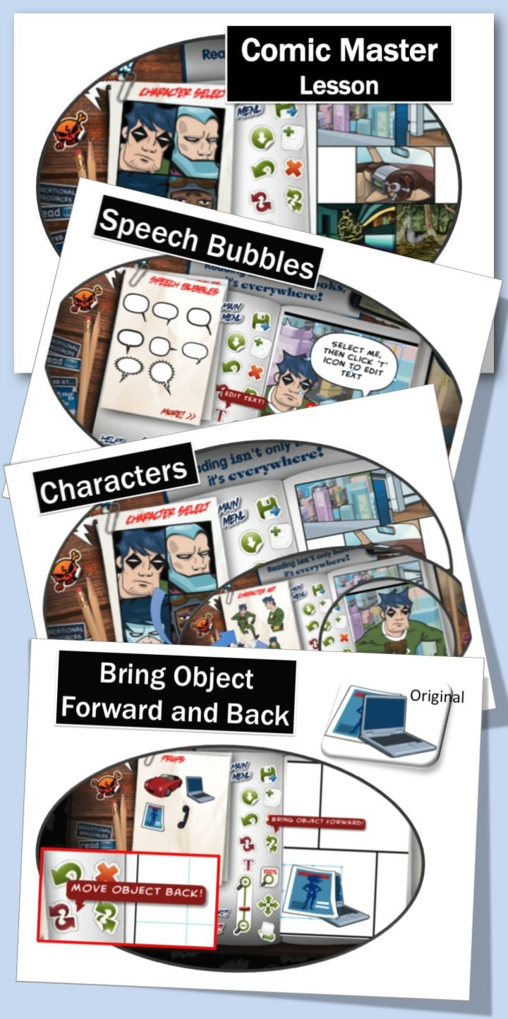 Comic Master - It allows students to create their own graphic novels! Choose page backgrounds, characters and props. Add dialogue and captions.