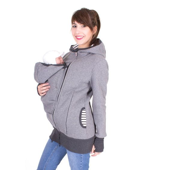 3in1, carrier jacket, baby carrying coat, belly to baby hoodie, maternity clothing, pregnancy, sweatshirt material, grey sprinkled, CHARLIE