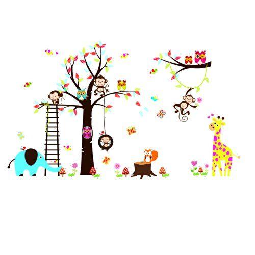 Rainbow Fox owl and squirrel monkey giraffe playing on colorful Tree Wall Decal Wall Sticker Rainbow Fox® http://www.amazon.co.uk/dp/B00KNW9GM8/ref=cm_sw_r_pi_dp_WEG2ub0KMYPYV