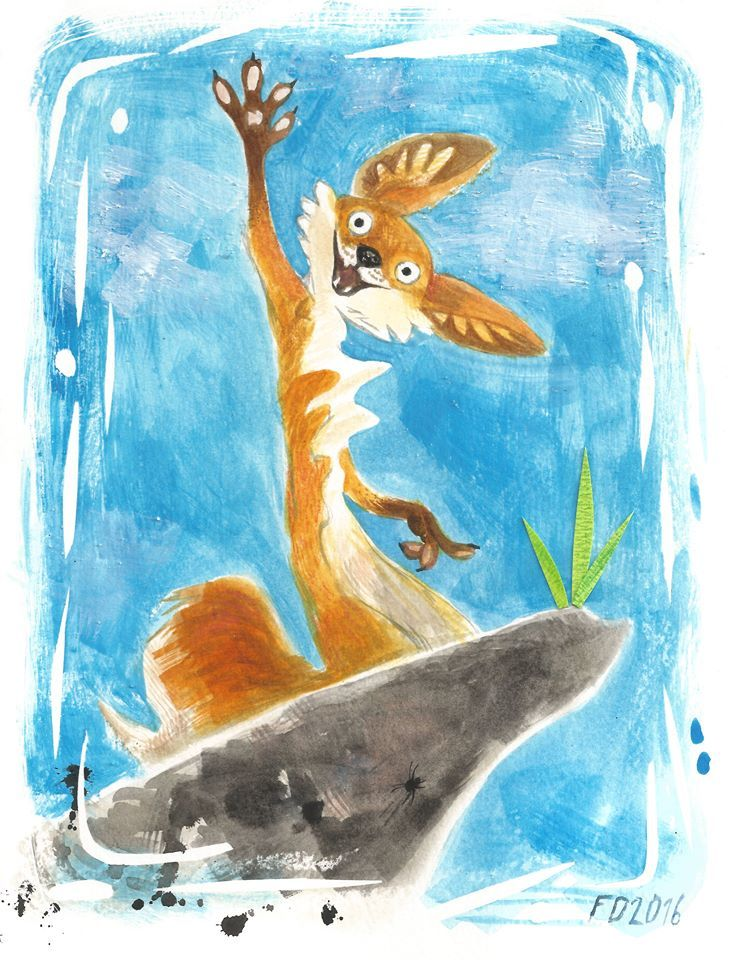 Red fox on grey rock / animal art illustration children book character /