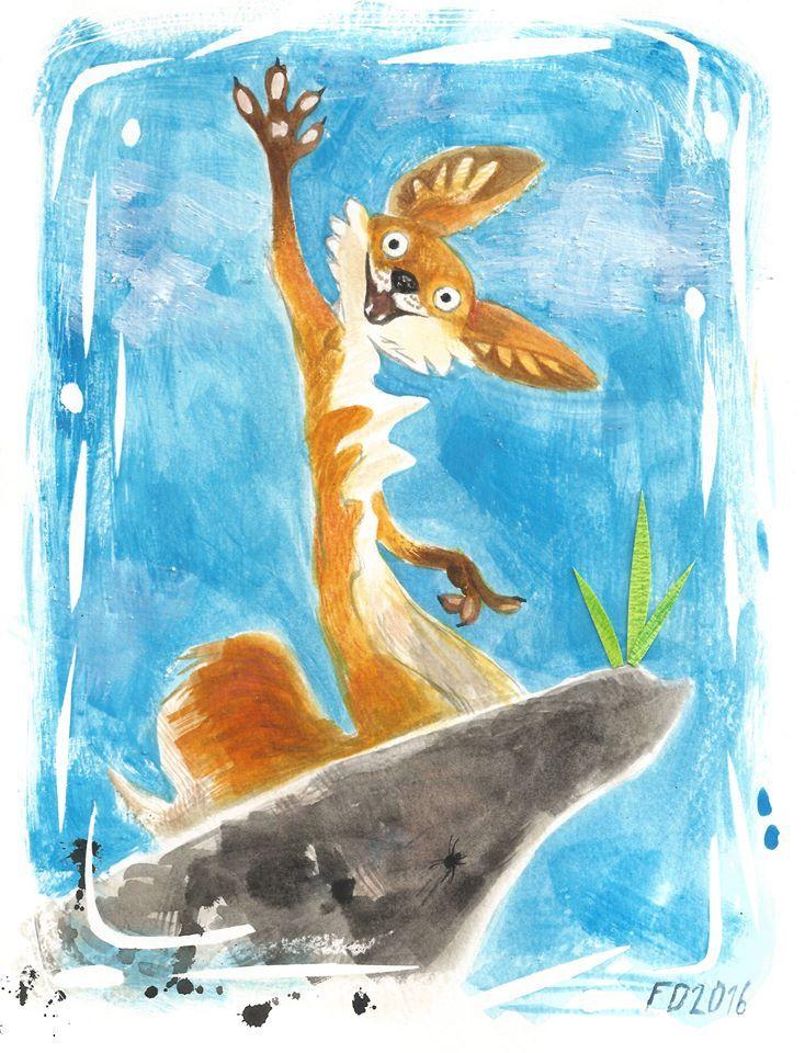 Red fox on grey rock / animal art illustration children book character /