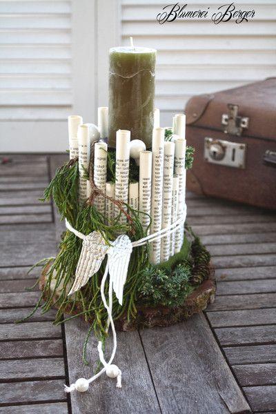 """Weihnachtsdeko - :::: Adventsgesteck """" Röllchen """" :::: - ein Designerstück von BlumereiBerger bei DaWanda"""