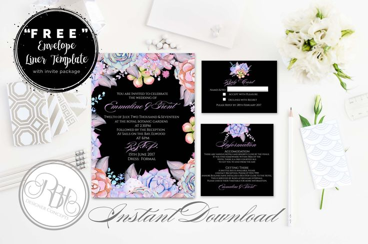 Lilac Black Mint Invite-Information Card-Reply Card-Envelope Liner-Templates-INSTANT DOWNLOAD-DIY Editable Text-Succulents-Alice in black by RBHDesignerConcepts on Etsy