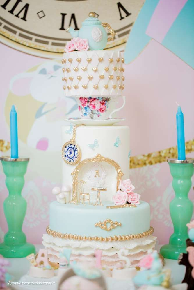 Wow!! Loving the stunning tiered birthday cake at this Alice In Wonderland Birthday Party!! See more party ideas and share yours at CatchMyParty.com