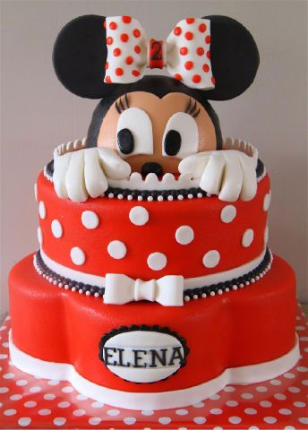Minnie Mouse #Cake Peek-a-boo Minnie! Super cute and adorable! We totally love and had to share! #CakeDecorating Ideas and Inspiration