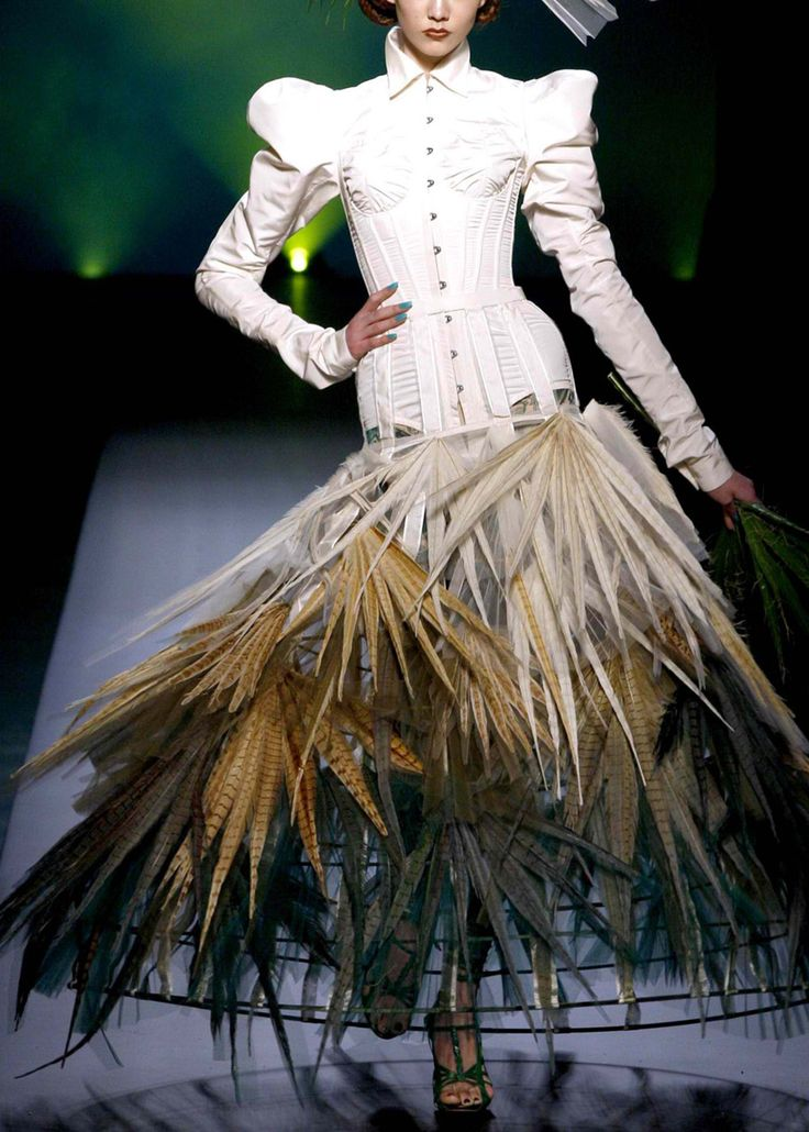 The hoop skirt is back! I'd like to see her get in a car or through a doorway!  Jean Paul Gaultier Haute Couture