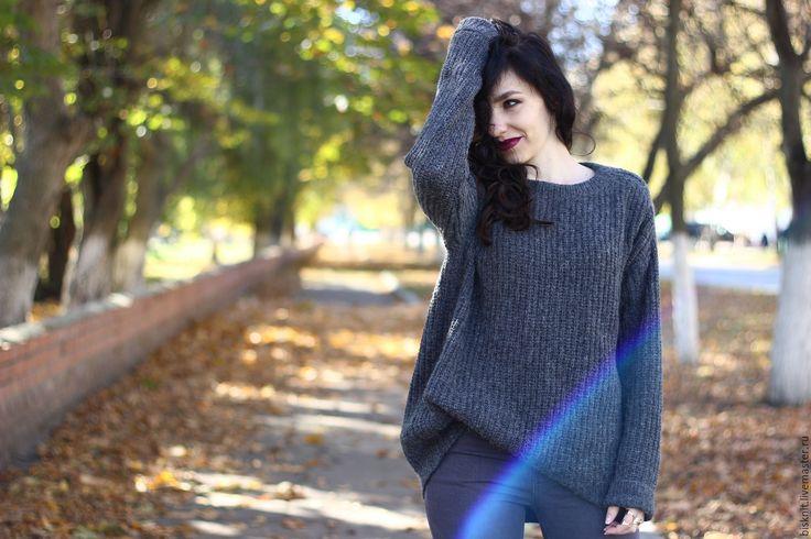 Купить Большой серый свитер в резинку - серый, СЕРЫЙ СВИТЕР, свитер резинкой, простой свитер