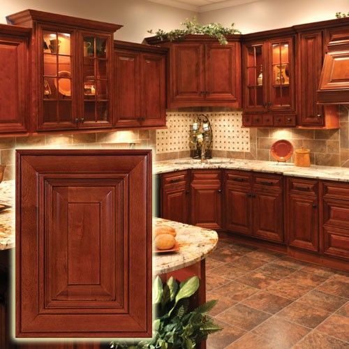 Cherry cabinets with dark glaze and raised panels very for Inexpensive wood kitchen cabinets