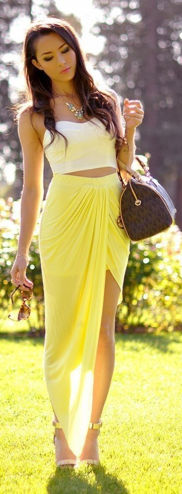 #casualoutfits #spring   White Bustier + Yellow Maxi Skirt   Hapa Time