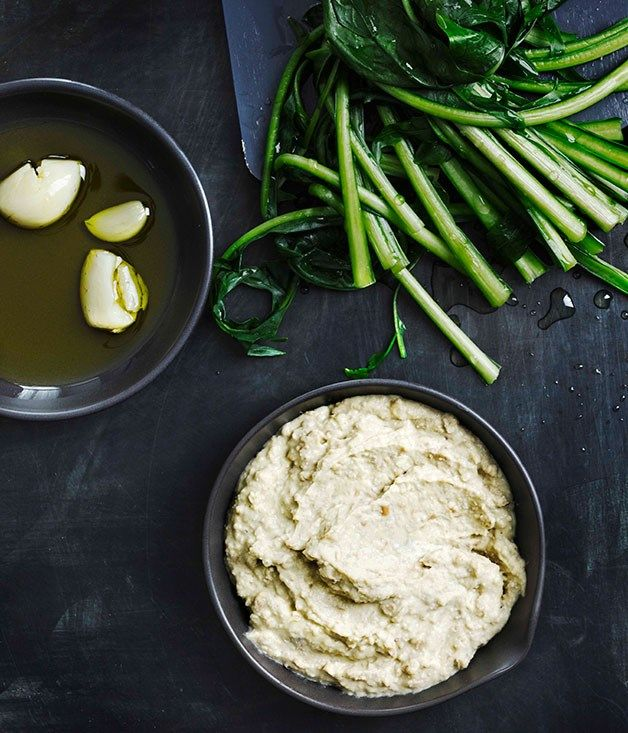 Australian Gourmet Traveller Italian appetiser recipe for Pugliese broad bean purée with boiled chicory (fave e cicoria).