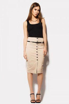 Beige Pencil Skirt Knee Length Formal Skirt Classic. (53.00 USD) by StylishLadiesShop