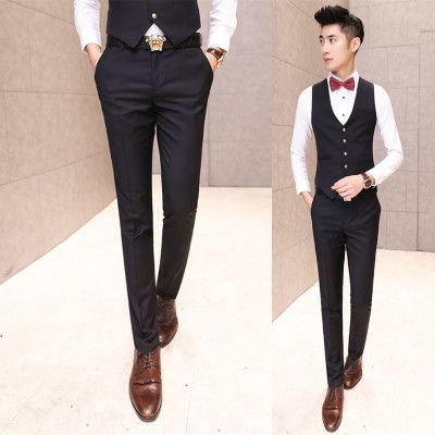 2017 New Wedding Mens Suits Pants Slim Fit Solid Color Black Trousers Korean Style Party Evening Dress Pants Perfume Masculino