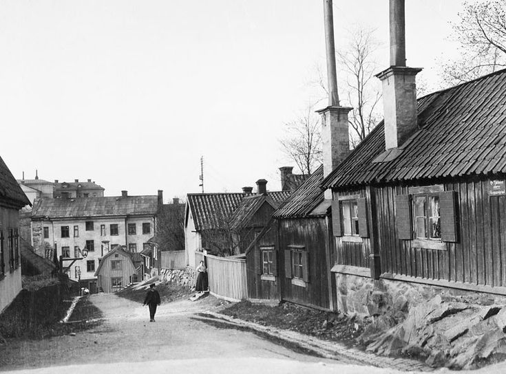 Skeppargränd norrut från Åsögatan. Nuv. kv. Lotsen t.h - Stockholmskällan