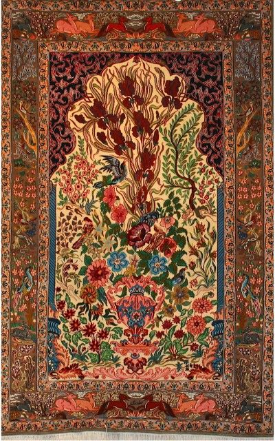 Super Fine Wool on Silk Persian Esfahan Rug