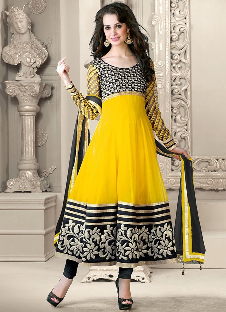 Beautiful Embrodiered Yellow Anarkali Salwar Kameez