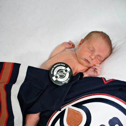 Ryan Douglas Fitzsimmons... named after RYAN Alexander Gordon Smyth and Wayne DOUGLAS Gretzky. Snoozing under Smytty's No. 94 jersey and alongside the puck that he tossed over the glass to a proud dad before a game in Minnesota. - Lyle Fitzsimmons: Lyle Fitzsimmon, Gordon Smyth, Oiler Families, Dani Fitzsimmon, Smyth Plays, Douglas Fitzsimmon, Ryan Smyth I, 1St Games, Photo