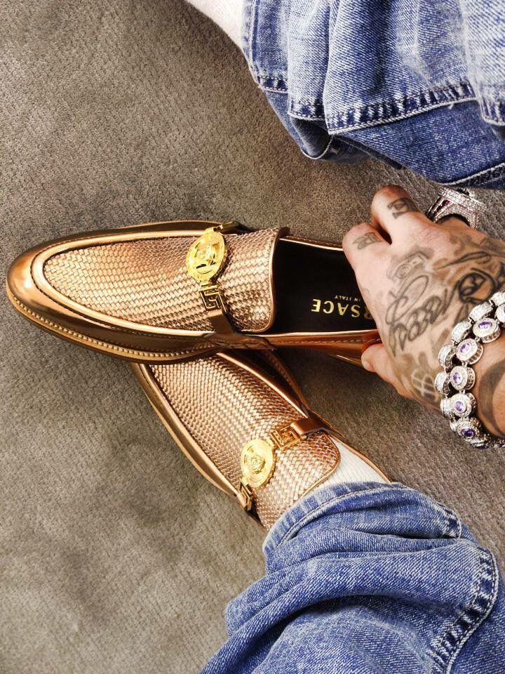 Pinterest : Gold Shawty..... when you know that your shoe speaks loader than your bank account is were Versace lies and tells the truth.............. wish to have