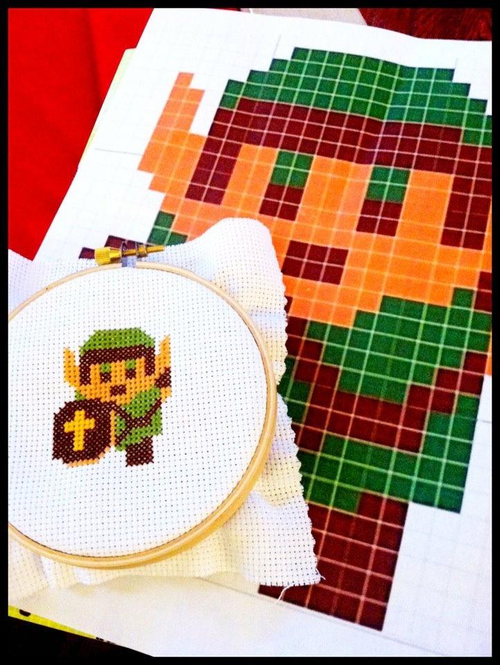 Legend of Zelda- Link 14 ct aida cross stitch.
