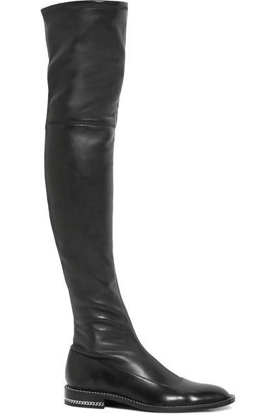 Givenchy - Chain-trimmed Over-the-knee Boots In Black Stretch-leather - IT38.5