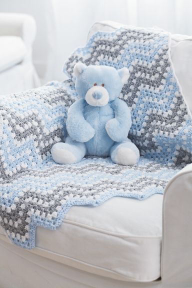 If only I could crochet :) I like the pattern and colors - Bernat® Baby Coordinates™ Ripple Waves Crochet Blanket