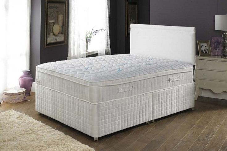 The Pillowtalk latex Ultimate 2000 pocket sprung with latex foam 4ft 6 double divan bed by Joseph International is constructed from 2000 pocket springs and a beautiful latex pillowtop.  A cheap but beautiful latex divan bed.
