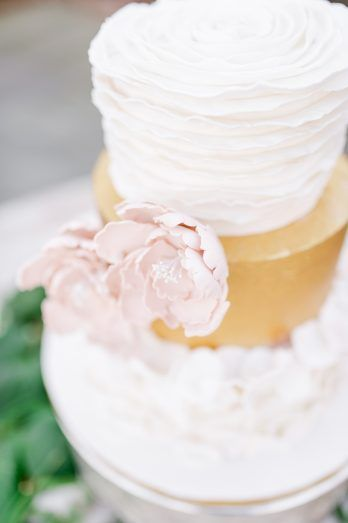 gold wedding cake, pink rose wedding cake  from Jane Austen Victorian wedding inspiration at River Farm and outdoor wedding venue