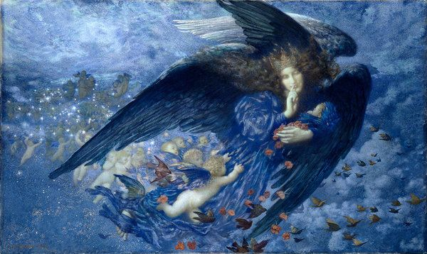 Edward Robert Hughes Print featuring the painting Night With Her Train Of Stars by Edward Robert Hughes