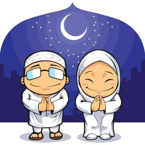Vector Muslim Clip art man and women praying on Eid al-Adha front of city under…