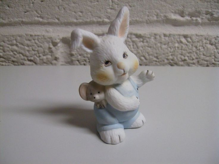Vintage Easter Bunny Rabbit with Mouse Blue Overalls Porcelain Bisque Figurine