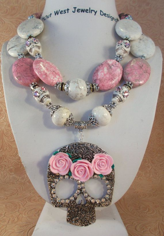 Cowgirl Necklace Set  Chunky White and Pink Turquoise Sugar Skull necklace by Outwestjewelry