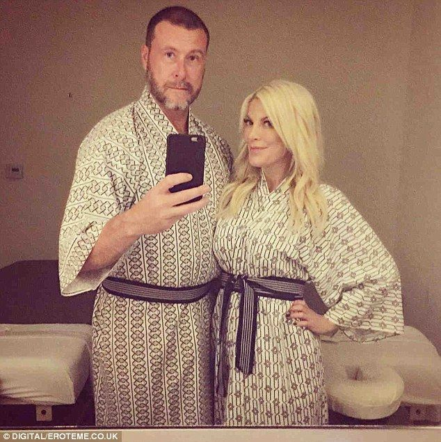 Relaxed: Tori Spelling treated hubby Dean McDermott for his 49th birthday atTomoko Japane...
