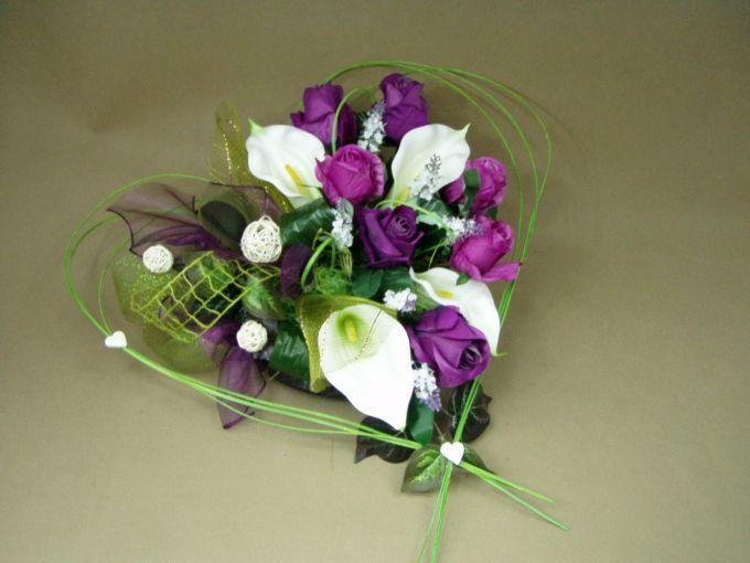 KALIE białe RÓŻE fiolet SERCE 662.5 stroik na grób + BUKIET KOMPLET Kompozycje…