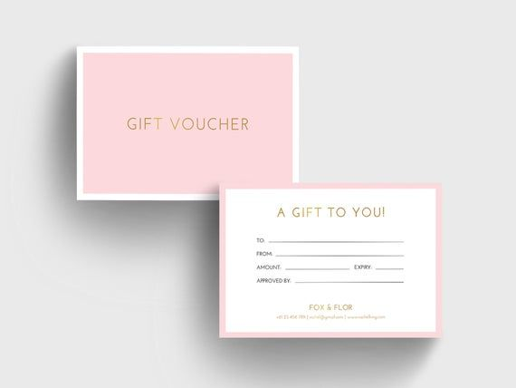 Pink And Gold Gift Voucher Template Diy Corjl Gift Card Template Editable Gift Card Printable Blush Pink And White Printable Voucher Gift Card Template Gift Card Design Gift Voucher Design