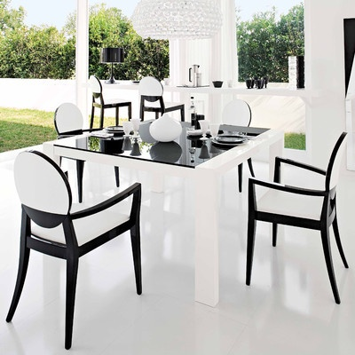 Black White Interior Design Dining Room Furniture With Glass Table