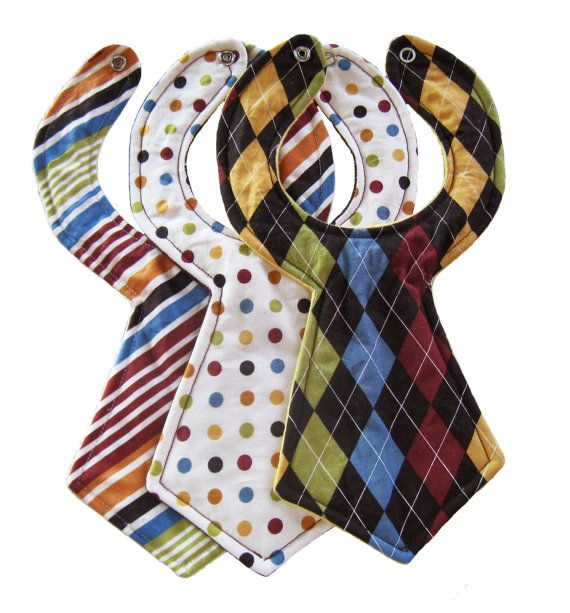 Designer Baby Neck Tie Bibs (Set of 3). $26.95, via Etsy.   *I think I can make this!