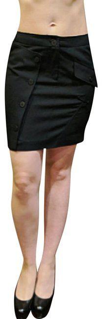 Burberry London Wool Mini Zipper Mini Skirt Black