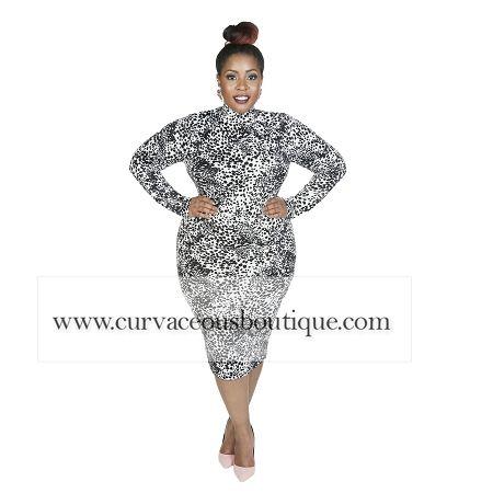 Grey Cheetah Mary Body-con Dress