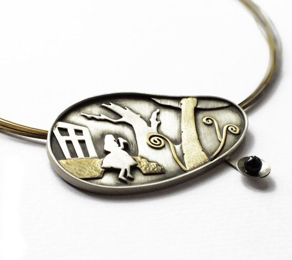 Alice in wonderland jewelry silver brass by SeasonsDesignJewelry, $226.00